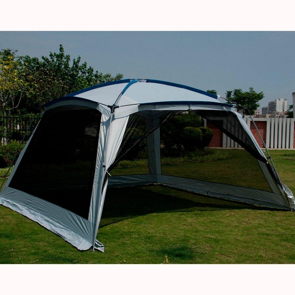 Alltel Ultralarge 5-8 personne 365*365*210 CM tente de fête grand Gazebo abri soleil avec moustiquaire
