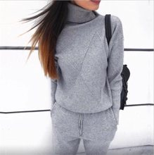 2018 Autumn Sweater Women Suits Knitting Cotton Two Piece Tracksuits Winter Turtleneck Femme Pullovers Pant Set