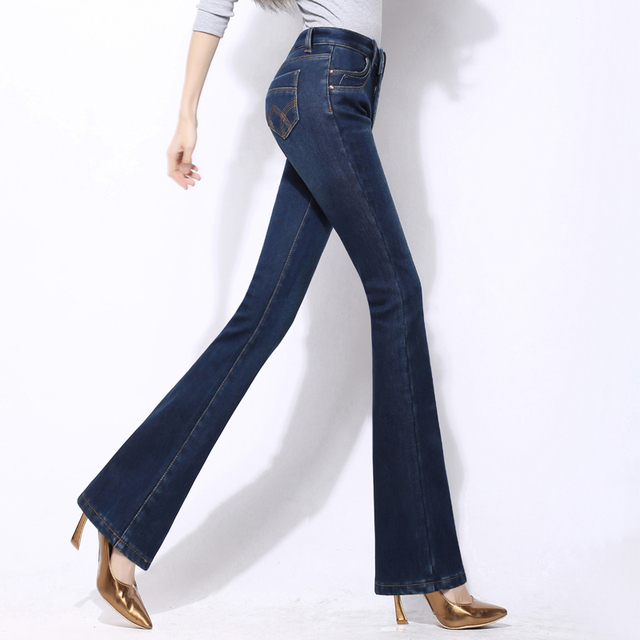 d3aa59657c4 2018 Elegant Autumn Slim Fit High Waist Flare Jeans Women Plus Size Stretch Skinny  Jeans Bell-Bottom Pants Denim Trousers