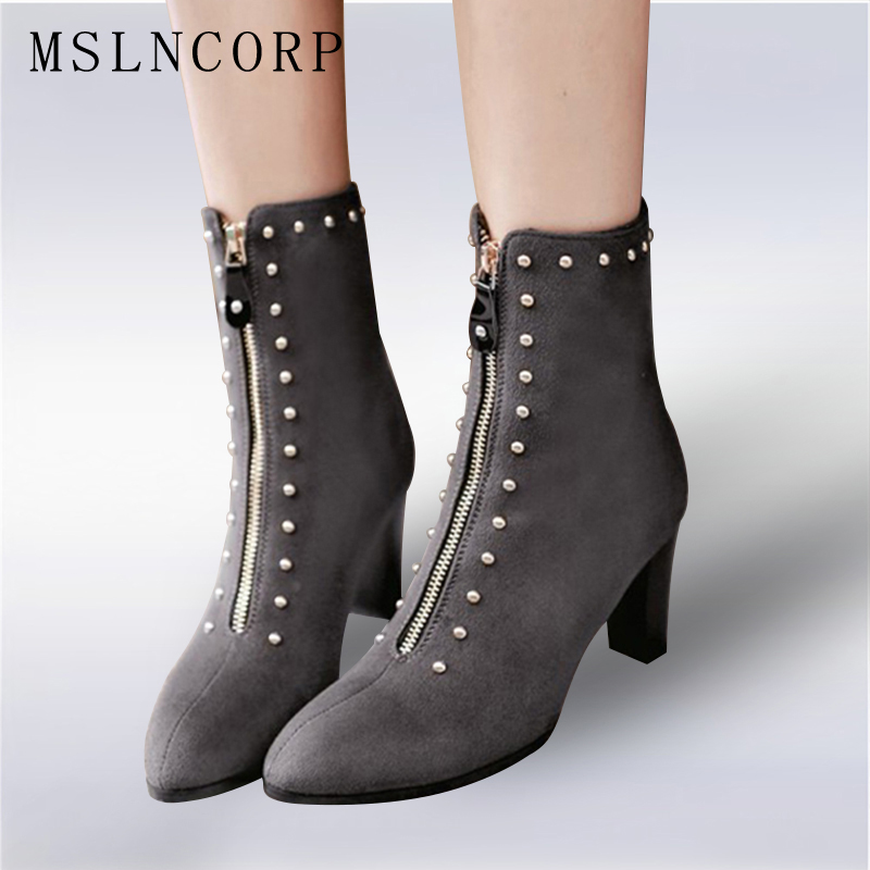 Plus Size 34-43 New Women Boots Spring Autumn thick High Heels Ankle Boots Pointed Toe Zip Rivet Martin Boots Sexy Ladies Shoes brand rivets patchwork ankle boots hidden wedges platform martin boots high heels pointed toe spring autumn boots zapatos mujer
