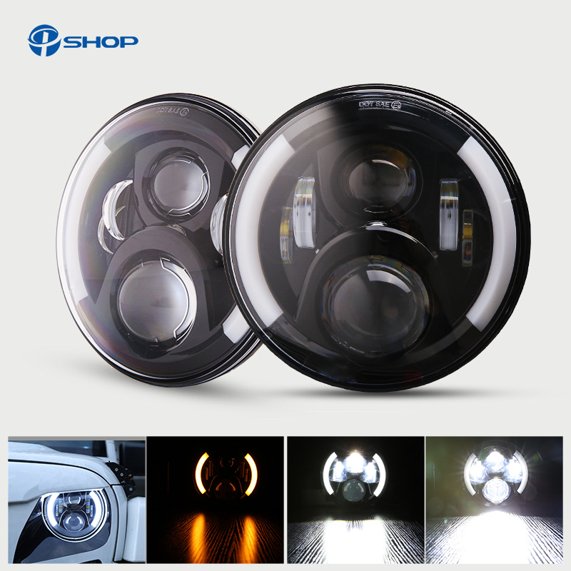 Pair Wrangler TJ 7 Inch Round LED Headlight White Halo Angel Eye / DRL Yellow Turn Signal LED Projection Daymaker Lens unionlux 7 led headlight with white halo angel eye ring drl