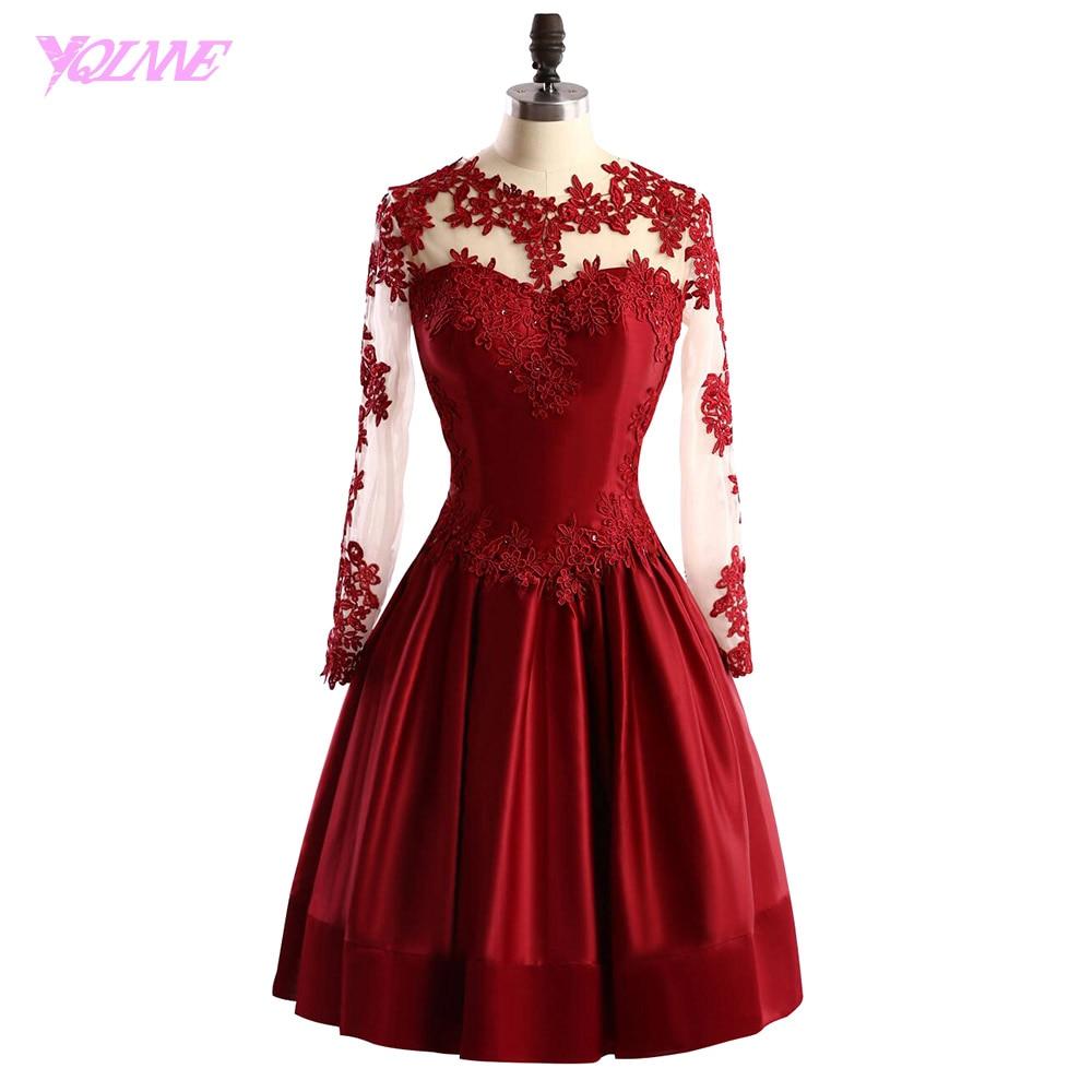 YQLNNE Red Short Prom Dresses Full Sleeves Lace Satin Zipper Side Knee Length Party Dress Vestido De Festa