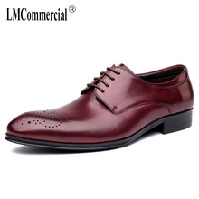 High Quality Genuine Leather Shoes men British Carved Business Leisure Men bullock designer shoes high quality spring