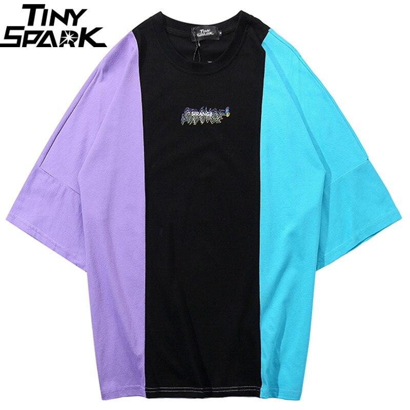 2019 גברים היפ הופ T חולצה גדול צבע בלוק טלאים חולצה Streetwear קיץ Harajuku Tshirt סקייטבורד חולצות טי כותנה