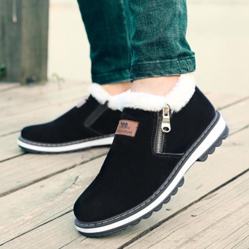 Plus Velvet Winter Boots Comfort Plush Boots Men Shoes 2019 New Zipper Fashion Cotton Flat With Keep Warm Snow Shoes Men Boots