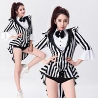 three item Fashion Star Costume Female Singer Ds Costume Dance Jazz Black White Stripe Color Block Formal Dress Tuxedo Costumes