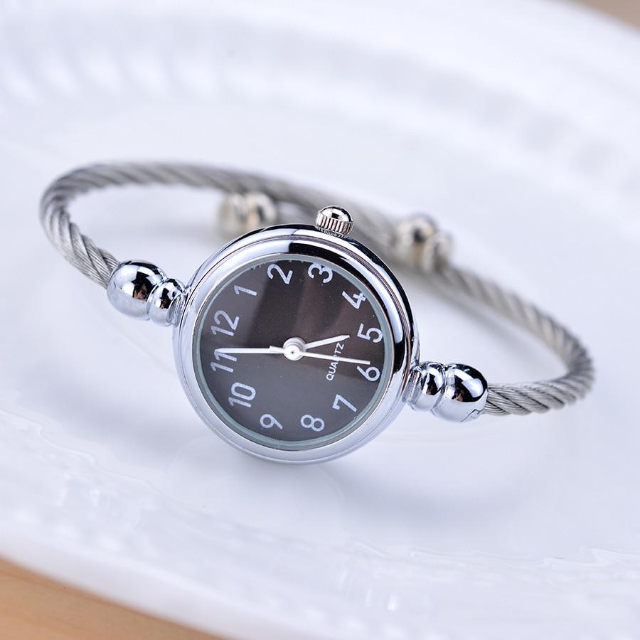 Sadə gümüş qadınlar zərif kiçik qolbaq qadın saatı 2018 BGG - Qadın saatları - Fotoqrafiya 6