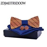ZDJMEITRXDOOW Wooden Bow Tie Bowknots for Wedding Party Ties Striped Wood Bowtie gifts for men gravata hanky Cufflinks Set