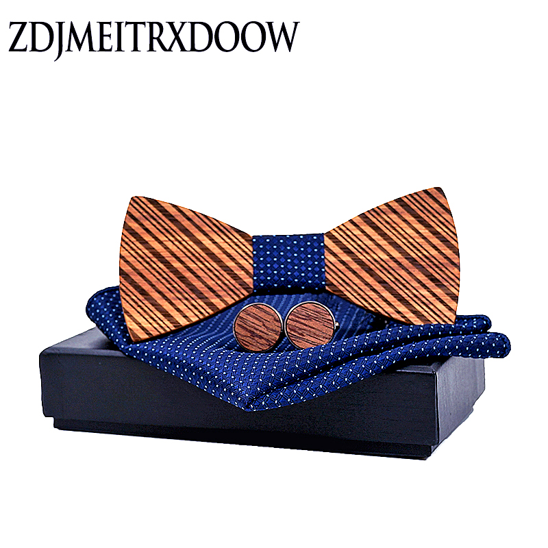 ZDJMEITRXDOOW Wooden Bow Tie Bowknots For Wedding Party Ties Striped Wood Bowtie Gifts For Men Gravata Hanky Cufflinks Set