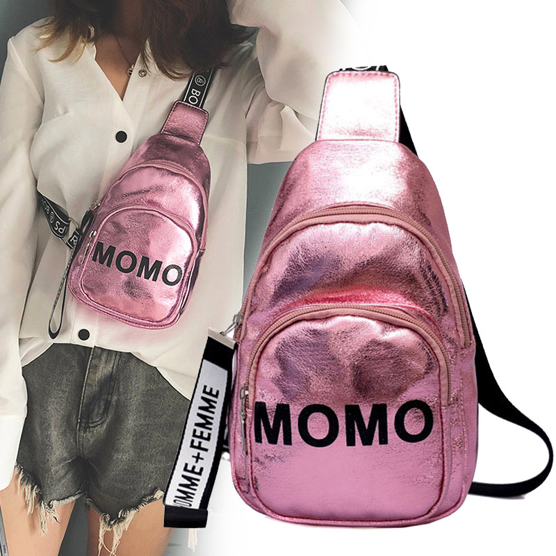 1PC Stylish Women Waist Bag PU MOMO Printed Solid Color Chest Bag For Outdoor Sport Best Sale-WT