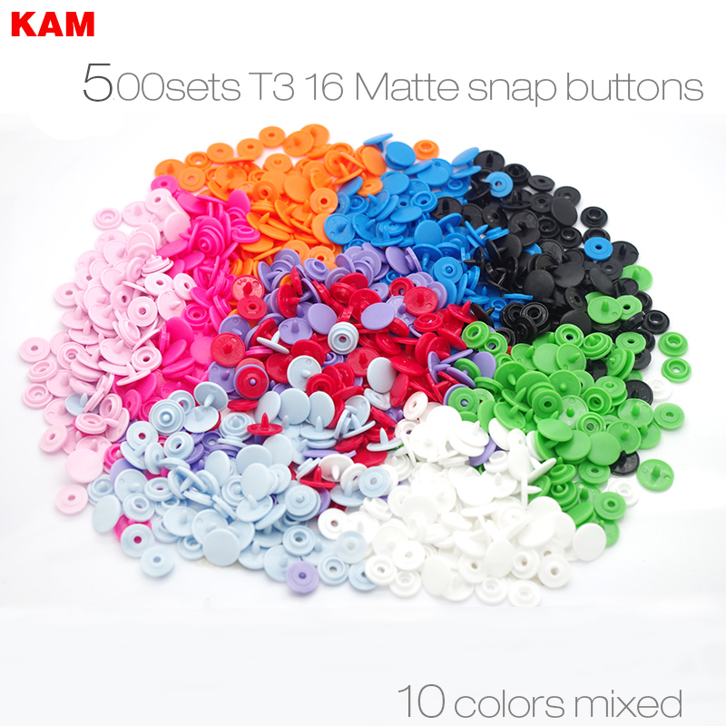 500 sets 10 Colors Mixed Matte KAM Brand 16 10mm T3 Matting Plastic Snap Button KAM Frosted Fastener Buttons n