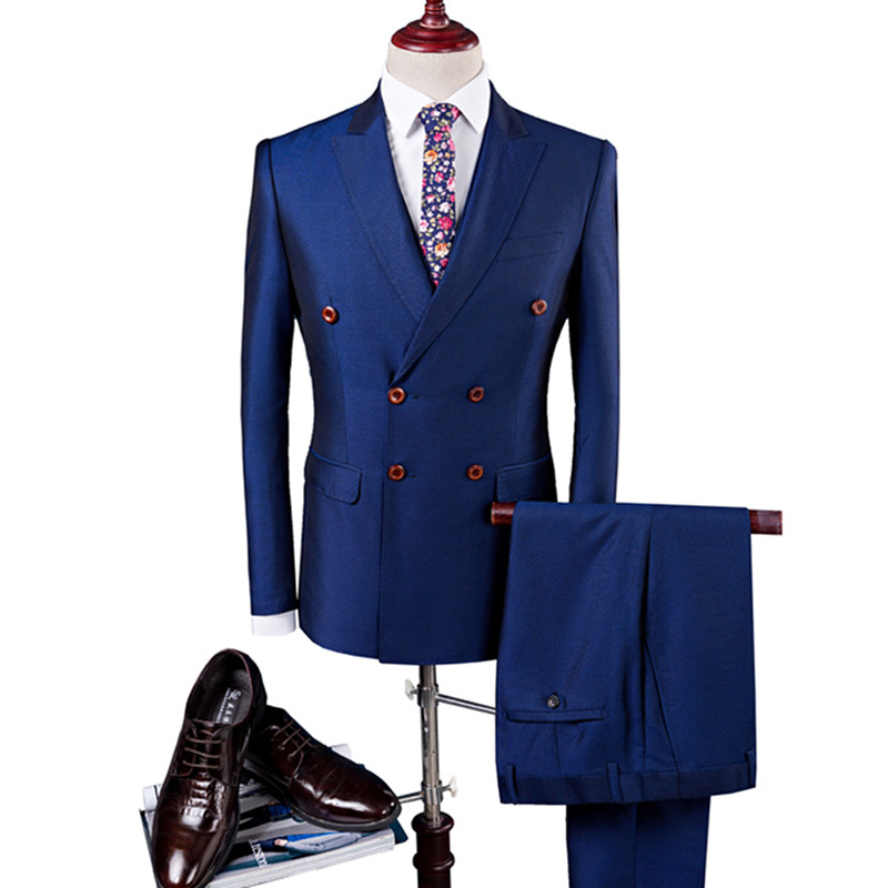 Business Luxury Men's Suit Three-Piece Blazer Vest Pants Satin Silky High-End Double-Breasted Formal Groom Wedding Dress Suit