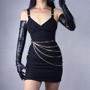Image 2 - 70 センチメートルエクストラロング革手袋の上肘エミュレーション革シープスキン PU 女性の明るい黒タッチスクリーン機能 WPU14 70