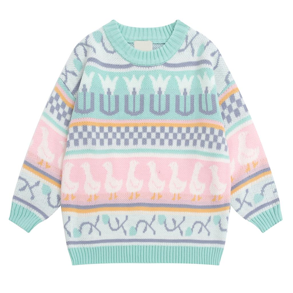 Autumn Winter Japanese Vintage Ladies Pullover Sweater Long Sleeve Loose Knit Pullover Multicolor Cartoon Jacquard Preppy