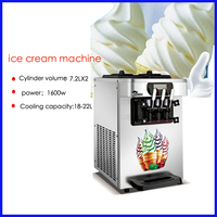 High quality commercial desktop soft ice cream machine 18 22L table type auto sweet cone ice cream maker