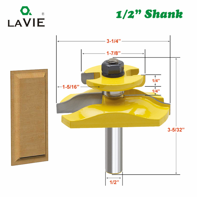 LAVIE 1pc 12mm 1/2 Inch Raised Panel Ogee Router Bit with Backcutter Tenon Cutter for Wood Woodworking Tools Power Tool MC03084