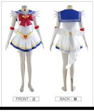 Новый сейлор мун косплей костюм Хэллоуин аниме dress бесплатная доставка на заказ dress + повязка + перчатки