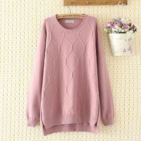 Plus size casual O Neck women Knitted pullover 2018 light blue & pink & black argyle autumn winter ladies sweater female