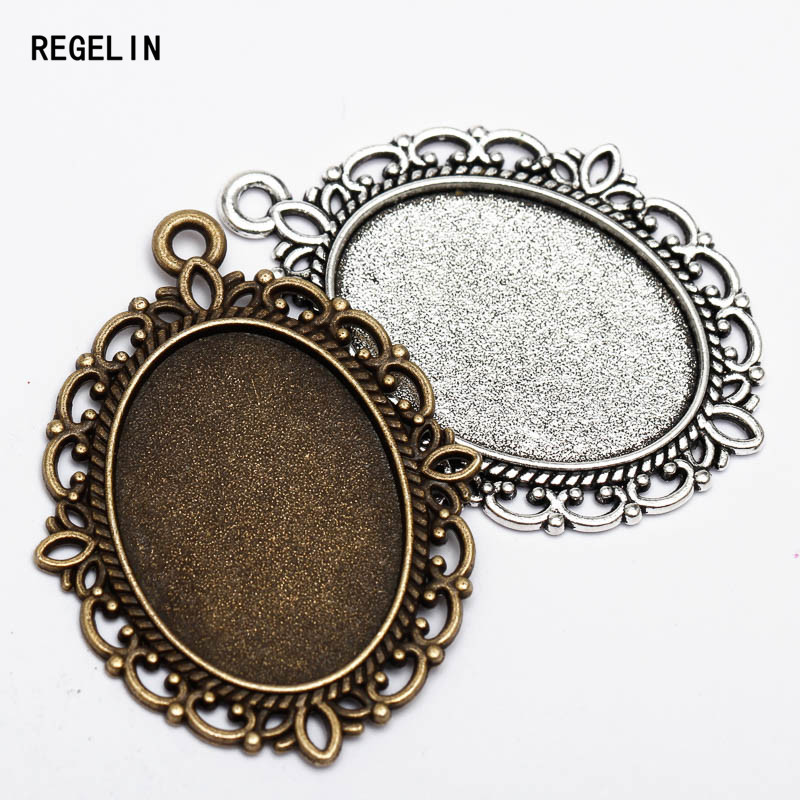 REGELIN 10pcs/lot Oval Pendant Blank Settings Cabochons Bases Bezel Trays Fit 18x25mm Cabochon Cameo DIY Necklace Jewelry Making