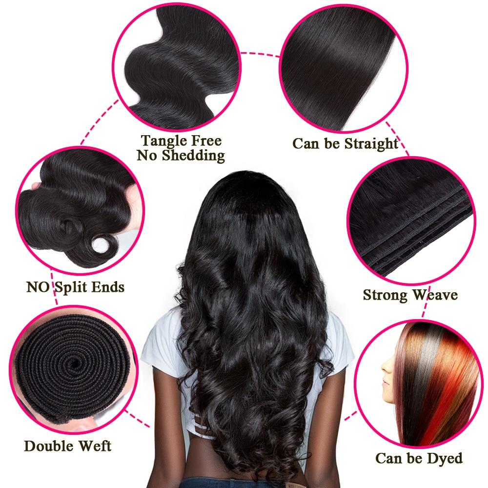 Queen Hair Products Brazīlijas ķermeņa viļņa matu komplekti 100% - Cilvēka mati (melnā krāsā) - Foto 2