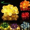 2.2M 20 Lamp 4cm Color Rattan Ball Battery Box Led String Lights New Year Christmas Decor Christmas Ornaments for Home Navidad,Q