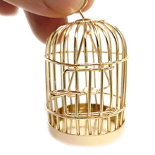 1:12 Dollhouse miniature furniture metal bird cage for dollhouse decor(China)
