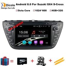 8 дюймов ips 4G Оперативная память Android 8,0 автомобильный DVD для SUZUKI SX4 S-CROSS 2014 2015 Octa Core 32G Встроенная память радио GPS; Мультимедийный проигрыватель головное устройство