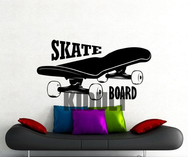 Creative wall decals skateboard skateboarding text pattern wallpaper family home room art deco wall stickers