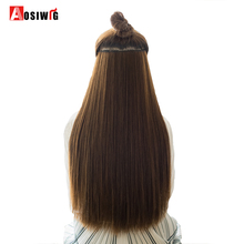AOSIWIG Long Straight Brown Natural Color Women Ombre Hair High Tempreture Fiber Synthetic Hairpiece Clip in Hair Extensions