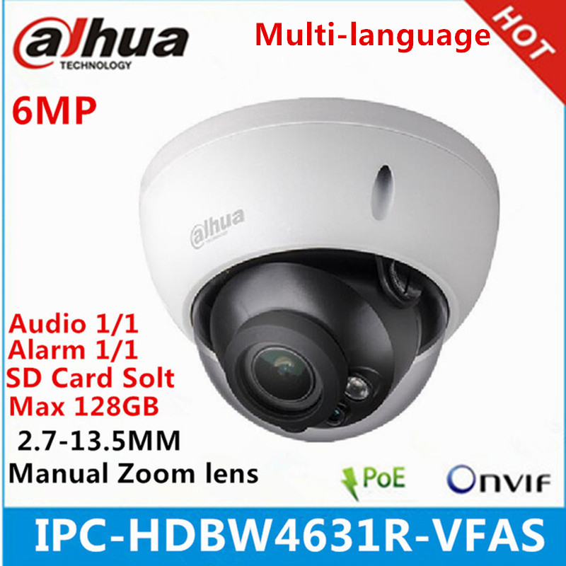 US $83 2 35% OFF|Dahua IPC HDBW4631R VFAS 6Mp IP camera 2 7 13 5mm Manual  zoom lens with SD card slot Audio interface IR50M poe camera-in  Surveillance