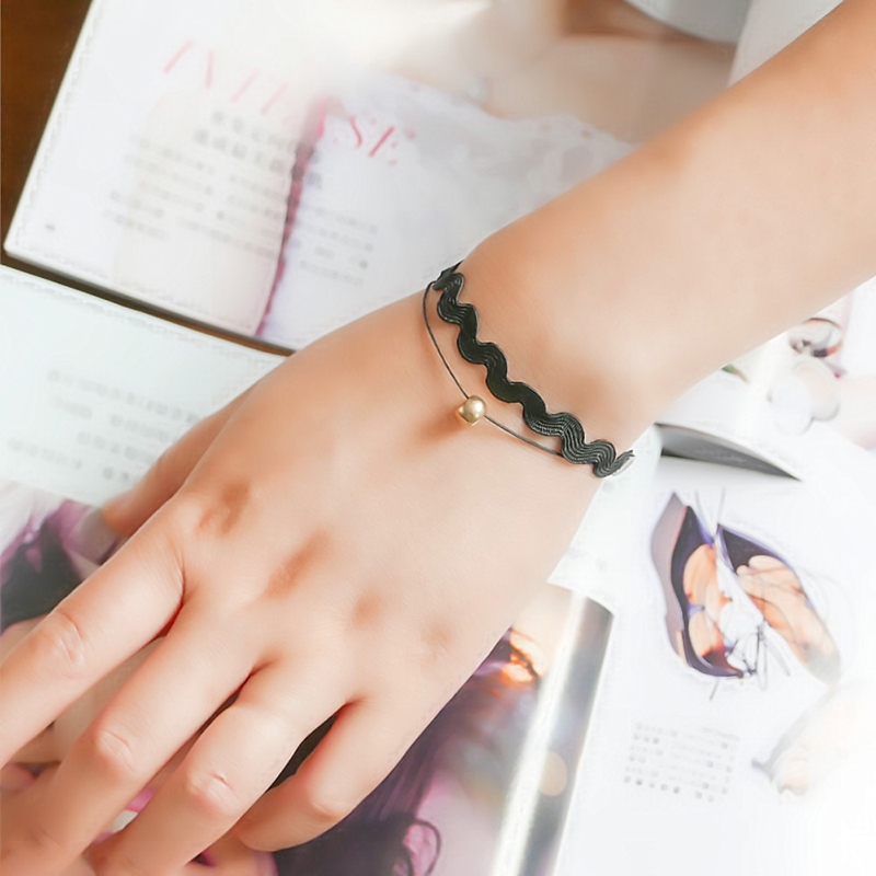 JOYESWING Double Layered Black Lace Accessory Bead Bracelets & Bangles Charms Handmade Bijoux Gothic Jewelry Wrist Bracelets