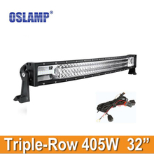 Oslamp 32inch 405W Car Curved Work Light Bar Pickup Offroad Driving Led Bar for Honda SUV Truck Combo Auto Light Bar