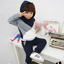Autumn child t-shirt 100% cotton female child top long-sleeve 3 – 11 child with a hood color block decoration male child