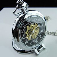 2010 New Classic Antique SilverTone Roman Mechanial Pocket Watch Freeship