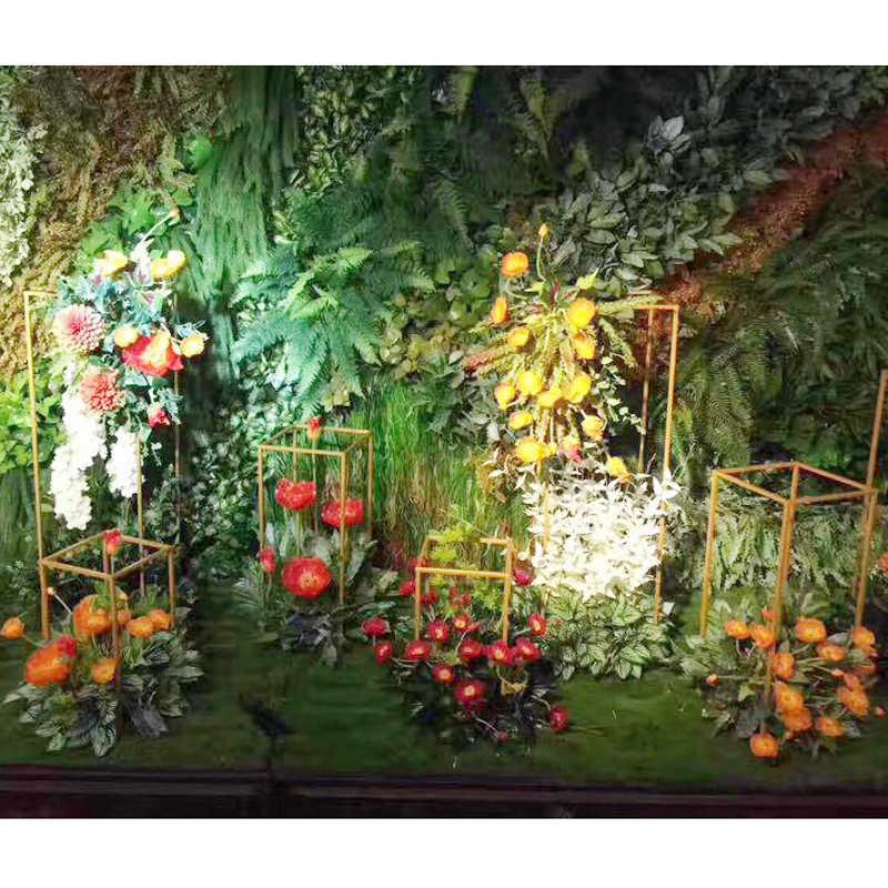 4PCS/LOT Floor Vases Metal Tabletop Vase Flower Holder Centerpieces Racks Geometric Road Lead for Home/Wedding Decoration G040
