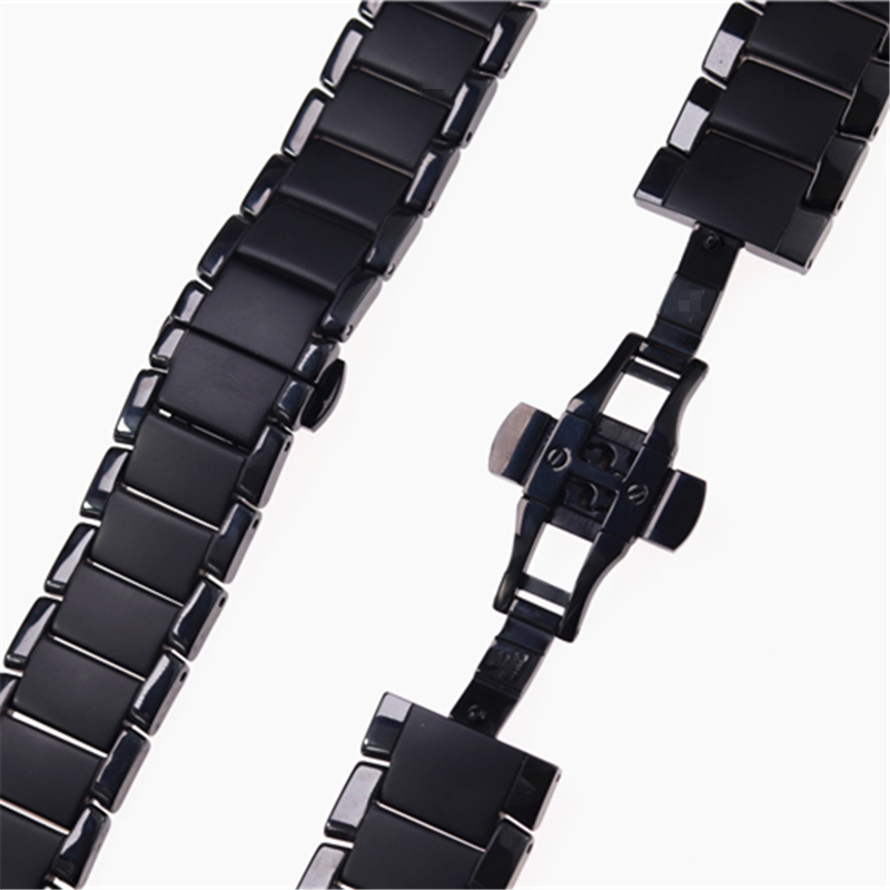 Image 5 - High quality ceramic steel strap 22mm 24mm for Armani watch modelAR1452 AR1451 watchbands black matte strap Replacement bracelet-in Watchbands from Watches