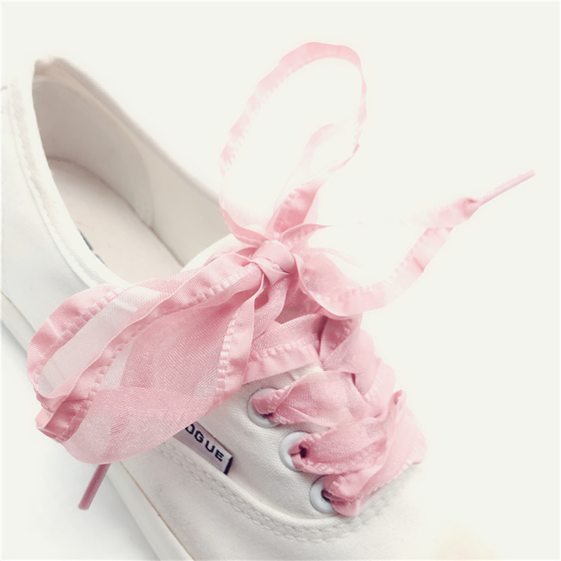 4 Cm Widen Organza Frills Shoelaces 120 Cm Length Bowknot Sneaker Pink Black Sport Shoes White Shoes Laces Dropshipping