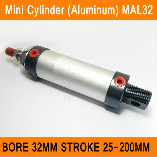 MAL32 Mini Cylinder CA Bore 32mm Stroke 25-200mm Rod Single Double Action Pneumatic Cylinder Aluminum Alloy Pneumatic Components mgpm63 200 smc thin three axis cylinder with rod air cylinder pneumatic air tools mgpm series mgpm 63 200 63 200 63x200 model
