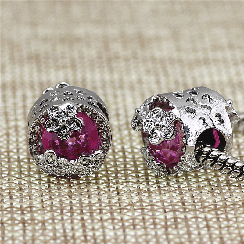 Pink Beads Fit Pandora Charms Antique Silver cz heart lion DIY Beads Charm for Jewelry Making