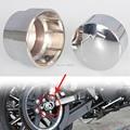 Metal del cromo eje trasero perno / tuerca cubierta de la tapa de ajustes del Kit para 2008-2015 Harley Softail Sportster XL883 XL1200 Fatboy encargo