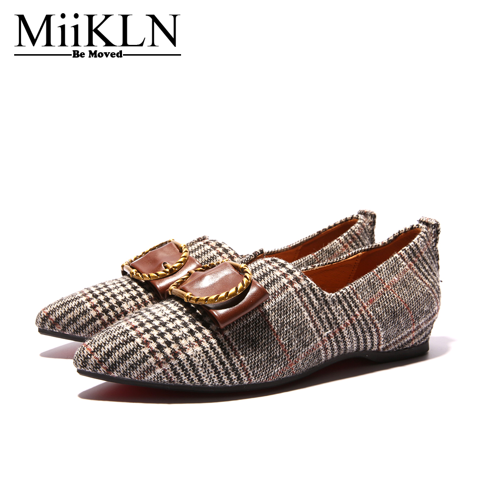 MiiKLN Black Grey Adult Women Flats Shoes Casual And Dress Female Loafer Shoes Gingham Slip On Round Toe Rubber Sole aquapulse 4122b grey black