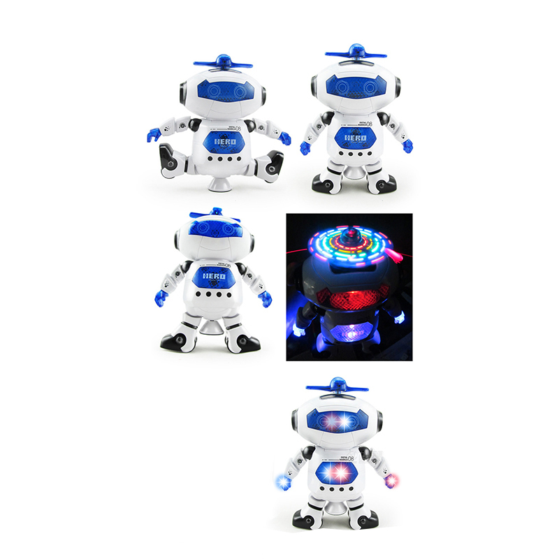 Quality Luminous Dancing Singing Music Robot Toys Intelligent 360 Degree  Rotating Flash Light Mus