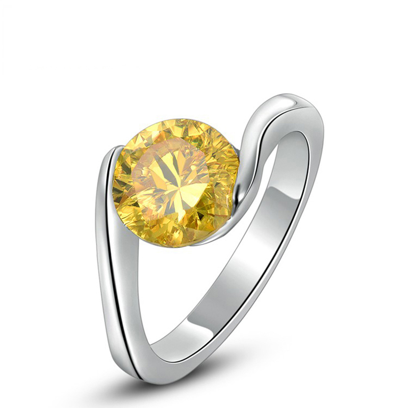 Classic Design Engagement Rings for Lady's Sparkly Yellow Rhinestone Wedding Bands Women's