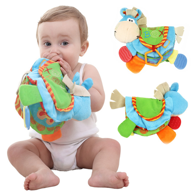 1pc Cartoon Animal Colorful Donkey Shaped Kids Cloth Book Hand Bell Rattles Newborn Baby Gift Preschool Learning Educatioal DS19