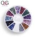 Cristales de uñas Nail Art Decoraciones Rhinestones Del Clavo de la Joyería de diamantes de Imitación de Diamante Para Uñas Mix 12 Colores Aceros