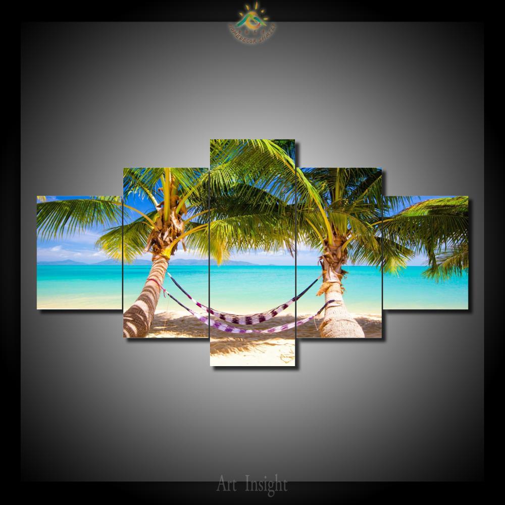 Пляжи море гамак пальмы 5 Шт./компл. Картины Живопись Холст Краски Home Decor Отпечатано Картина Wall Art Picture