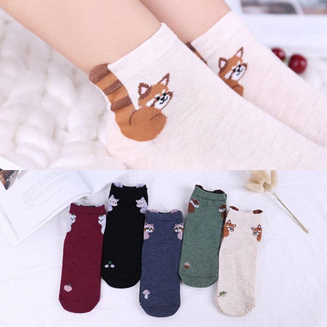Style; Fashion Small Cute Animal Cartoon Socks Spring Women Socks Soft Cotton Socks With Prints Chick Raccoon Little Sheep Panda Piggy Fashionable In