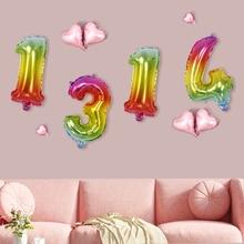 ABDO 1 Pcs 32 Inch Gradient Rainbow color Number Balloons Aluminum film Birthday wedding party  Reception meeting Decoration