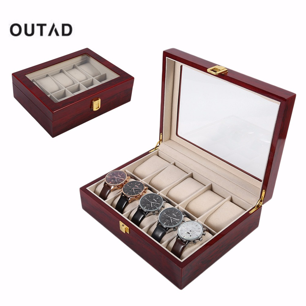 Luxury 10 Grids Solid Wooden Watch Box Case Jewelry Watch Display Collection Storage Case Red caixa para relogio saat kutusu