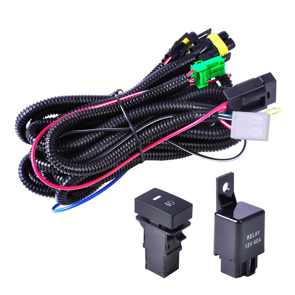 Citall H11 Fog Light Lamp Wiring Harness Sockets Wire Switch With Relay 12v 40a Led Indicators Automotive